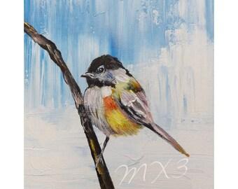Chickadee Bird Print, Bird Art, Bird on a Branch, Chickadee Art, Blue Bird Print, Bird Print, Bedroom Art, Hallway art, Gifts under 10