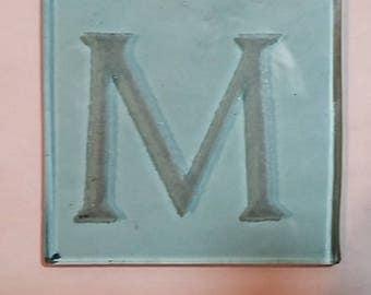 Vintage Pyrex Glass, Large Engraved Letter M.