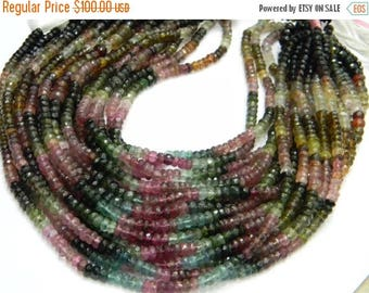 on sale fine quality Natural multi tourmaline micro faceted roundel 4-5 mm 14 inch strand approx