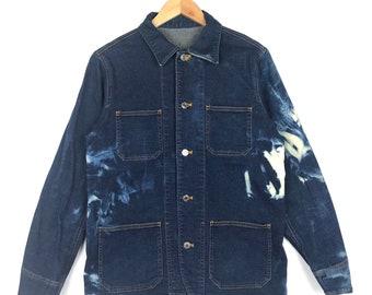 Rare! Vintage Japanese Brand Denim Jacket Acid Wash Style Medium Size