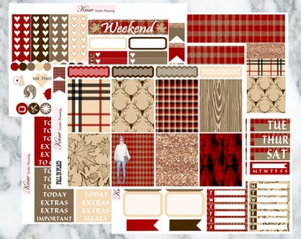 Fall In Plaid // Weekly Kit - Erin Condren Life Planner Vertical 165+ stickers