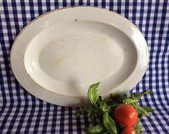 Antique primitive enamel oval serving platter rustic country farm kitchen home decor plate