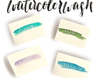 Watercolor Wash / Calligraphy / Placecards