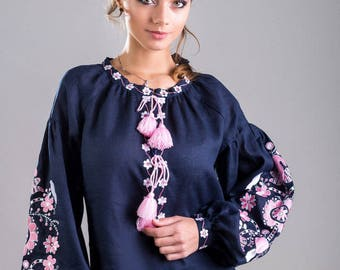 FREE SHIPPING. Beautiful vyshyvanka blouse of 100% linen with Ukrainain floral embroidery patterns, boho modern folk style