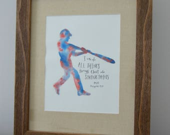 Watercolor Baseball Painting - I Can Do All Things Through Christ