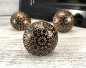 Metal Knob Old Gold & Black Stamped with Floral Design, Cabinet Knobs, Decorative Hardware Furniture Pulls, Drawer Pull, Item #560237329