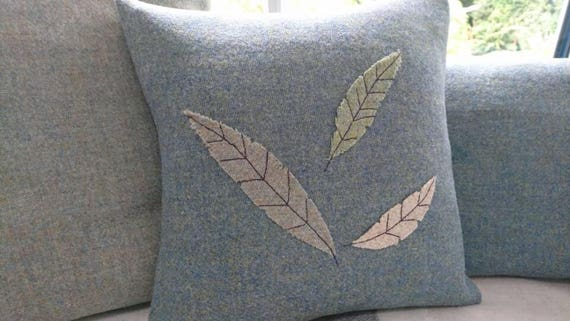 Hand Crafted Harris Tweed leaf cushion cover