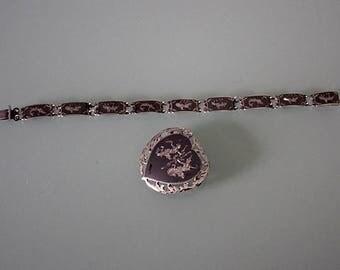 Vintage Siam Bracelet, Siam Brooch, Siam Jewelry Set