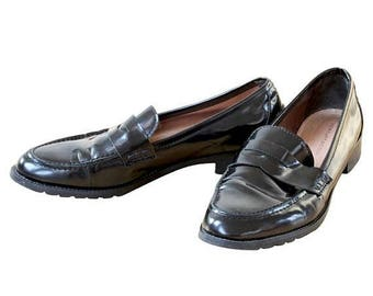 SALE20% KURT GEIGER Ladies Black Loafers Shoes, Black walking shoes, Black Leather Loafers, Black Patent Leather Loafers Size Euro 40