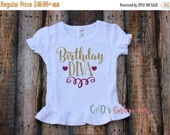 ON SALE Birthday Diva Shirt - First Birthday Shirt - Birthday Diva Shirt - Girls Birthday Shirt - Glitter Girls Birthday Shirt - Birthday Di