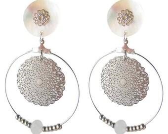 White grid hoop clip on earrings