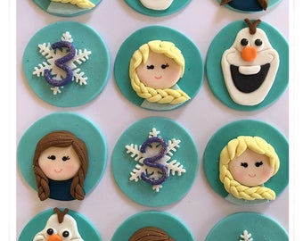 Set of 12 or 24 Frozen inspired cupcake toppers