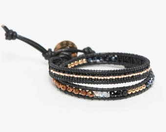 Wrap bracelet 2 turns black gold and copper