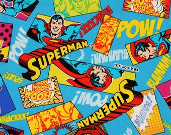 Superman Character Fabric made in Japan, Man of Steel, DC Comics Fabric by Fat Quarter