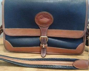 Vintage Dooney & Bourke AWL Surrey Pebbled Navy Blue Leather Crossbody Bag