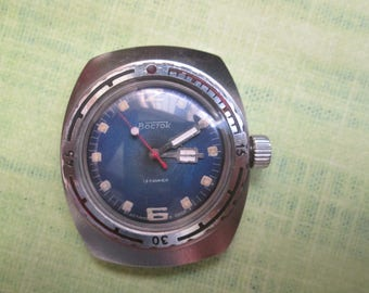 Vintage Soviet Russia USSR watch old Vostok Amphibian stainless housing