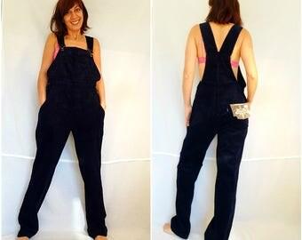 Womens bib overalls loose corduroy overalls size XL blue oversize overalls plus size bohemian wide leg jumpsuit vintage 90s dead stock