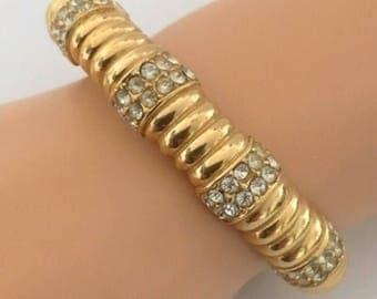 Ciner Vintage Gold Tone & Crystal Rhinestone Clamper Bracelet