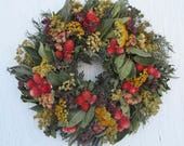 herb wreath with gold and orange dried flowers and bay leaves/colorful herb wreath/warm earthtones herb wreath/rustic herb wreath with bay