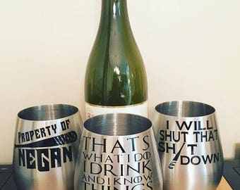 Game of Thrones/Walking Dead Themed Wine Glasses
