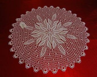 White crocheted 41 cm handmade round doily