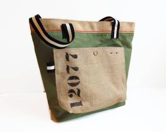 Cabas en toile militaire kaki et toile de jute, taille moyenne, sac en toile recyclées par Pleasant Home
