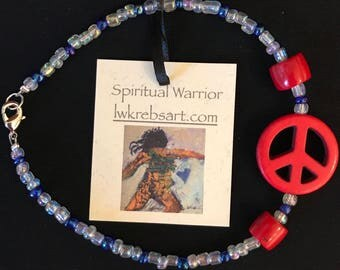 Red, White and Blue Peace Anklet
