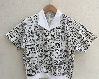 Vintage Christian Dior Tribal Motive Shirt Blouse