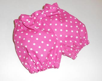 Baby Bloomers - Pink polka dot Bloomers - Diaper Cover - Size 6-9 Months - Bow Back Bloomers - Baby Ruffle Bottom - Photo Prop Bloomers