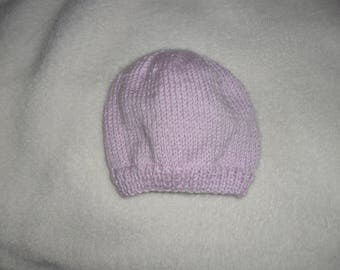 Wool baby hat size newborn to 3 months hand knitted lilac