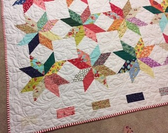 Stars quilt- vintage look with lots of 1930's fabrics