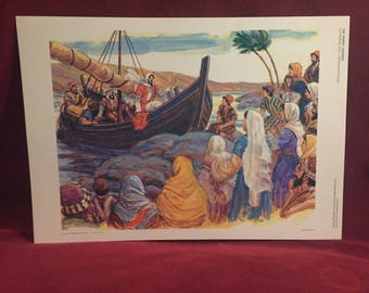 Sunday School Church Art.  11x17 Vintage Teaching Aid, Lithograph