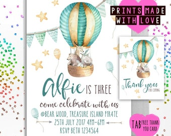 Tribal animals style printable party invite with Free Thank you card , 1st birthday , 2nd , 3rd , 4th , 5th , invitation , baby shower tab