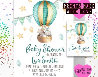 Baby shower gender neutral invites printable , hot air balloon , animals , jungle , cute bsha , personalised , FREE thank you cards