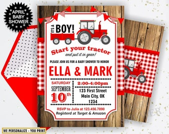 Red Tractor Baby Shower Invite, Tractor Invitation, Tractor Baby Shower Invitations, Red Plaid Woodland Boy Farm BST3 46