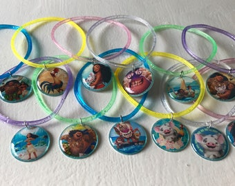 12x Disney Moana  Party Favor Jelly Glitter Bracelets with charm