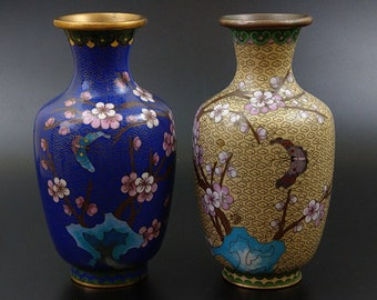 Pair of Cloisonne Vases with butterflies