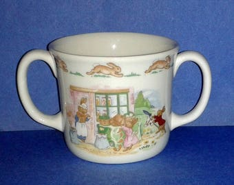 ROYAL DOULTON 1936 Bone China Bunnykins Double Handle Christening Childrens' Cup ~ Made in England