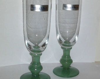 Lot of 2 VILLEROY & BOCH Isabelle Green Slim Water or Wine Glasses Rare and Hard to Find