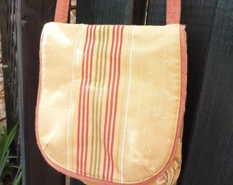 Small satin flowers and stripes shoulder bag