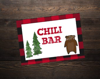 Chili Bar Sign // Lumberjack Party //  5 x 7 and 8.5 x 11 // Instant Digital Download PDF