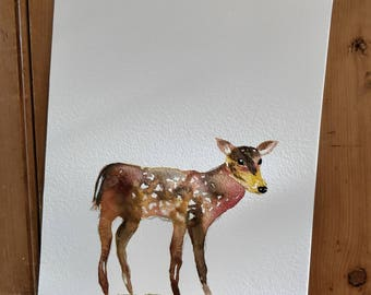 A4 Shimmery Fawn. Original watercolour painting.