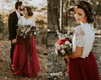 New! Wine Dress Tulle Set Lace Crop Top with Sleeves and Tulle skirt long, Lace Crop Top, Bridesmaids Dress, Tulle Dark Red Burgundy Skirt