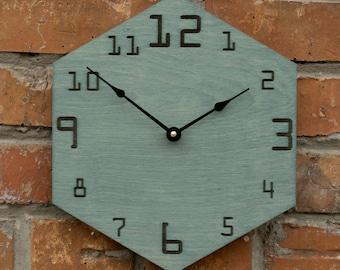 Hexagon Wood Clock, Metatron's Cube Wall Decor, Sacred Geometry, Mandala, Metatron Clock, Tetrahedron Decor