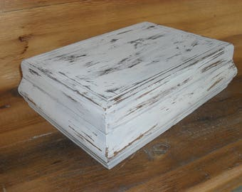 Vintage Wood Jewelry Box Distressed Shabby Chic Cottage Decor