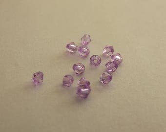Set of 10 purple 4mm acrylic Bicone beads