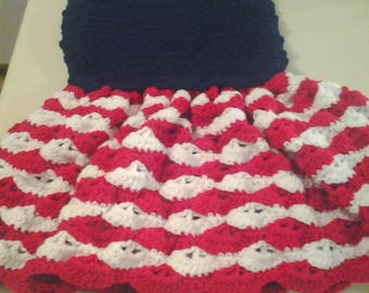 Patriotic girls dress,patriotic dress, fourth of July dress, red, white and blue dress, crochet, girls gift, birthday gift, birthday dress,