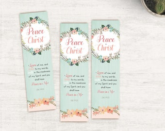 LDS Mutual Theme 2018 Bookmarks Printable (Instant Download) -  Peace in Christ, LDS Gift, Young Women Bookmark,