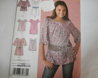 Simplicity Sewing Pattern 2689 Girl's Dress, tunic top, belt Size 8 10 12 14 16