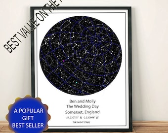 Custom Star Map, New Design, more detailed representation, View night sky any date place you like.  Personalize you choose, A Great Gift. WH